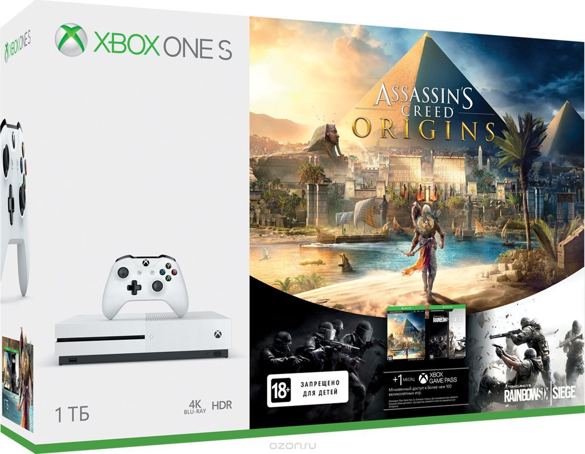 Игровая консоль Xbox One S 1 ТБ + Assassin's Creed Origins + Карточка Steep + Crew код. (Комплект)